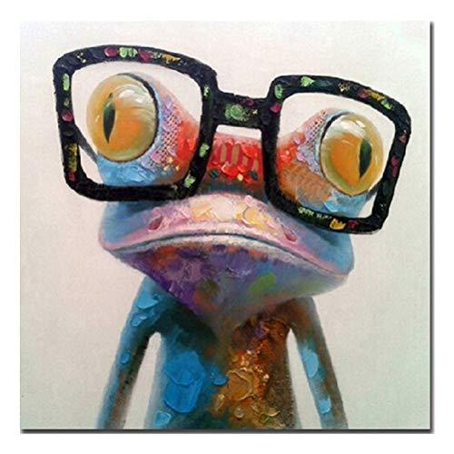 YUHT Wandbilder, Leinwandbild, Bilder, Wand Bild, handbemalt gem?lde S??es Frosch mit Brille auf Leinwand gespannt undl gerahmt fertig zum Aufh?ngen Wanddekoration, Colourful