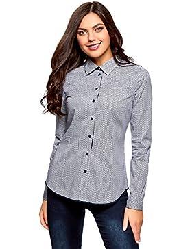 oodji Ultra Mujer Camisa Entallada con Acabado EN Contraste