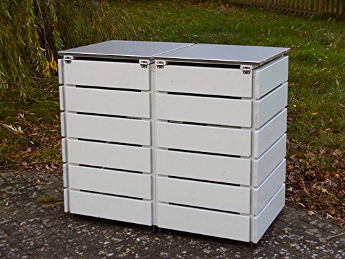 2er Mülltonnenbox 120 L, Holz / Edelstahl – Deckel, Douglasie Natur - 4