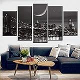Sanzx Canvas Painting Modular Wall Artist Residencia Decoración 5 Piezas Ciudad de Nueva York Escena nocturna Fotos HD Print Brooklyn Bridge Poster 30 * 40 * 2 30 * 60 * 2 30 * 80Cm Sin marco