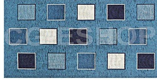 Confezioni.giuliana tappeto passatoia moderno antiscivolo quadrati geometrico azzurro cucina soggiorno ingresso (55x140)