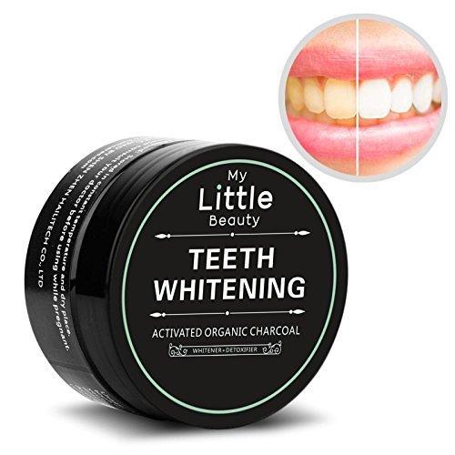 MY LITTLE BEAUTY Poudre blanchissante activée avec du charbon blanchissant pour des dents organiques et un composé 100% naturel - Blanchiment des dents 60 grammes