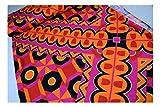 Fabrics-City ORANGE/BUNT EDEL BI-STRETCH VISKOSEJERSEY STOFF BUNT BEDRUCKT STOFFE, 4175