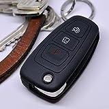 Soft Case Schutz Hülle Auto Schlüssel FORD Mondeo Focus S-Max Fiesta Transit Remote Klappschlüssel / Farbe: Schwarz