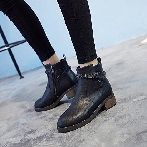 Autunno stivali donna nero fondo piatto rotondo Martin Stivali Stivali con tubo corto denso di grandi dimensioni black