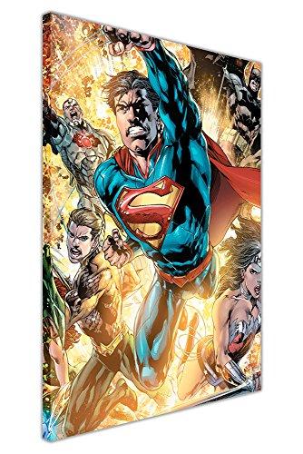 DC Comics Justice League War Superman Batman Wonder Woman Pop Art Jungen Leinwand Wall Art Drucke Superhero Poster, Canvas Holz, 09- A0-40