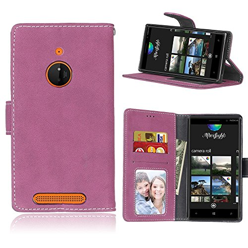 MAXJCN Telefonkasten Für Nokia Lumia 830, Retro Stil Einfarbig Premium PU Leder Brieftasche Fall Flip Folio Schutzhülle Abdeckung Mit Kartensteckplatz/Ständer, Modisch langlebig. (Farbe : Rose) - Fall Geldbörse Nokia 830 Lumia