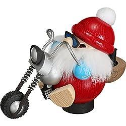 Seiffener Volkskunst - Weihnachtsmann als Biker - Motorad - Rucksack für Räucherkerzen
