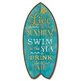 Vintage Weathered Inspirational Live in Sunshine Mini Surfboard Plaque Décor 11""