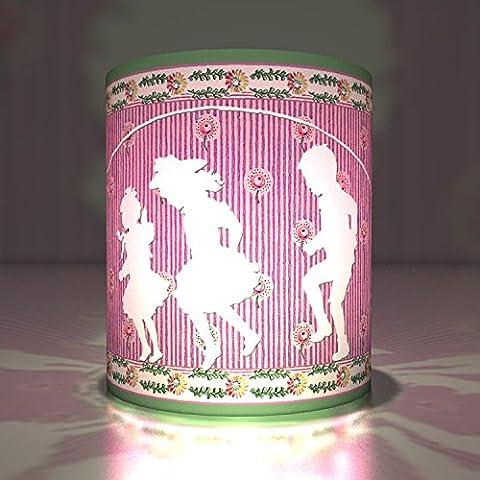 5 Nostalgique lanternes-photophores decoratives, lanternes en papier calque, lumières transparentes pour anniversaire de filles avec des silhouettes