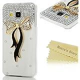 """Mavis's Diary Coque Samsung Galaxy A3 2015 (4.5"""" ne s'adapte à Version 2016 ) Étui de Protection PC Housse Rigide Transparent Phone Case Cover Bling Strass Nœud Papillon + Chiffon"""
