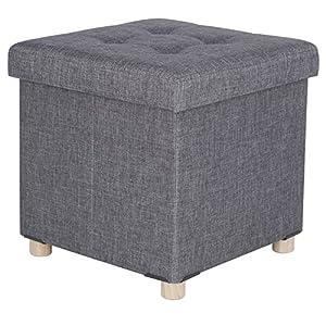 WOLTU Sitzhocker Sitzbank Faltbar Sitztruhen Aufbewahrungsbox, mit Abnehmbaren Holzbeine, Gepolsterte Sitzfläche aus Leinen, 38×37,5x38CM(BxTxH), SH25dgr