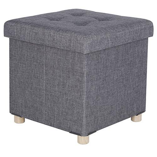 WOLTU SH25dgr Tabouret pouf Coffre de Rangement pliable assise rembourrée en lin jambe en bois,couvercle amovible,38x37,5x38cm (LxPxH),Gris Foncé