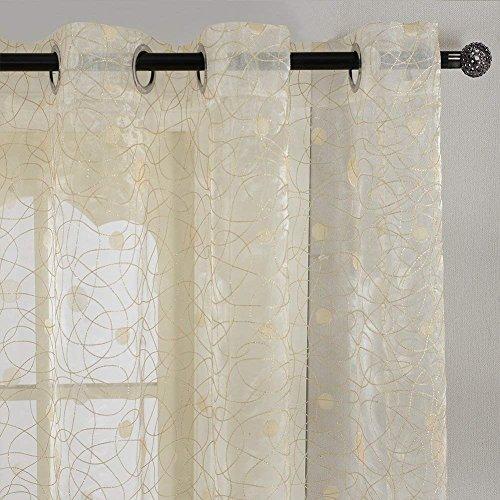Top finel ricamato a pois voile tende cucina tenda con occhielli pura parete porta finestra balcone,300 x 250 cm, 1 pezzo, giallo