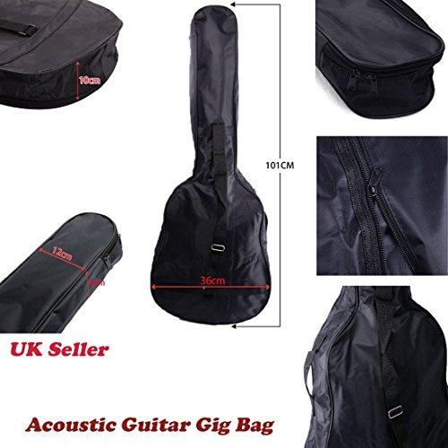 JJOnlinestore–Universal Negro 38pulgadas guitarra estudiante principiante protectora impermeable correa de guitarra acústica y clásica bolsa de hombro bolsa de transporte ajustable