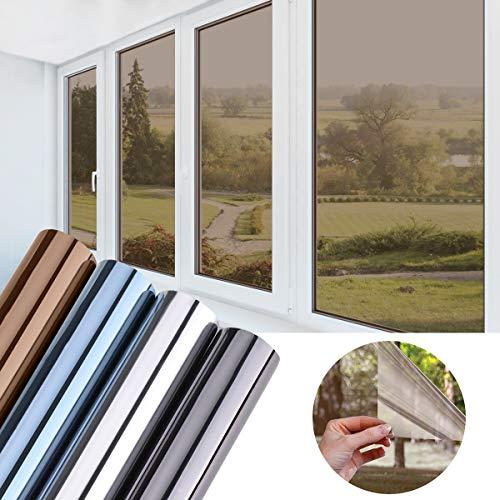 KINLO 90x200cm verspiegelte Folie Sonnenschutz selbstklebend Fensterfolie Sichtschutz und Hitzeschutz Sichtschutzfolie Spiegelfolie für Fenster Dunkel Kaffe