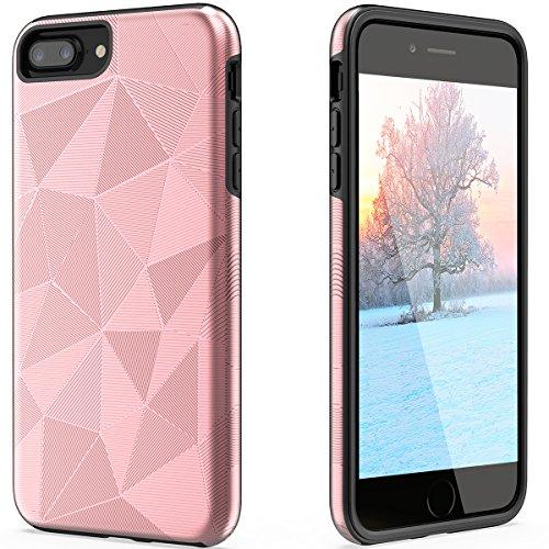 iPhone 6Plus 7plus 8PLUS Case Geometrische Textur Ultra Thin Heavy Duty Schutz stoßfest Defender Kratzfest Langlebige Slim Dual Layer Hybrid Gummi Armor für Apple (14cm), 5.5 inch, Rose