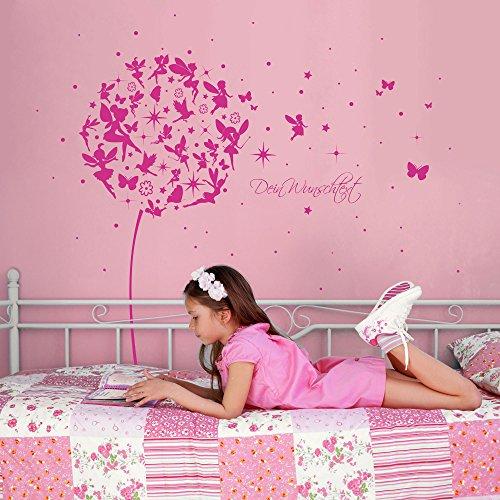 ilka parey wandtattoo-welt® Wandtattoo Wandaufkleber Wandsticker Aufkleber Sticker Pusteblume mit Elfen Feen Schmetterlingen Blumen Punkten Sternen und Wunschtext M2056 – ausgewählte Farbe: *lavendel* ausgewählte Größe: *M – 126cm breit x 120cm hoch* - 3