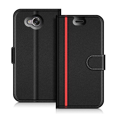 Coodio Honor 6A Hülle Leder Lederhülle Ledertasche Wallet Handyhülle Tasche Schutzhülle mit Magnetverschluss / Kartenfächer für Huawei Honor 6A, Schwarz/Rot