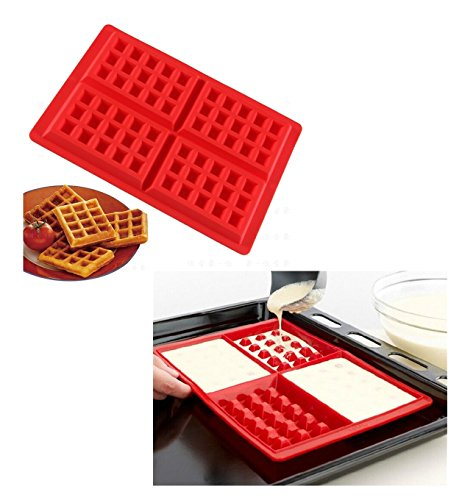 SWEET CANDY BAKERY Waffelform aus Silikon Waffel Back Form Ofenform Backofenform quadratisch - Waffel Silikon-form