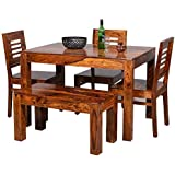 Furniture World Sheesham Wooden Dining Table 4 Seater | Dining Table Set with 3 Chairs & 1 Bench | Home Dining Room Furniture | Honey Finish