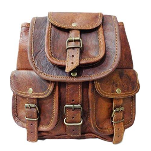 Neue Vintage Echtleder Wandern Tasche Rucksack Rucksack Kleine Reisetasche (Kleidungsstück Tasche Leder Große)