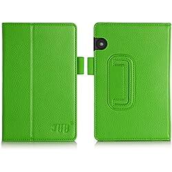 Funda Kindle Voyage, Kindle Voyage Funda, Fyy de cuero, delgada y ajustable para kidle color verde (Con auto reposo/despertar)