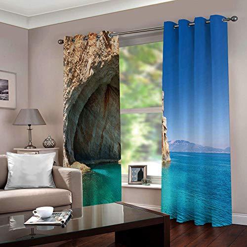 Zfszsd tenda oscurante oscurante bambinimare termiche isolanti tende stampate per camera da letto blu acciaio due pannelli dimensioni:l280cmxa180cm