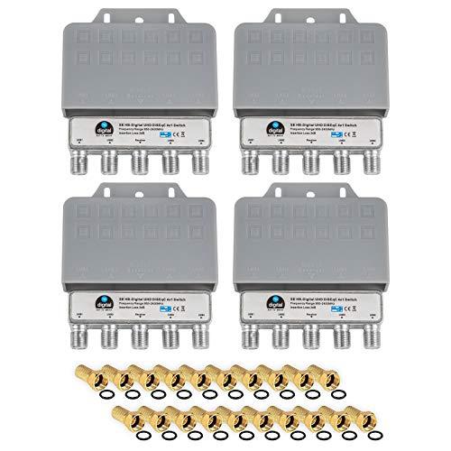 4X DiseqC Schalter Switch 4/1 mit Wetterschutzgehäuse HB-DIGITAL 4X SAT LNB 1 x Teilnehmer / Receiver für Full HDTV 3D 4K UHD + 20 x Vergoldete F-Stecker Vergoldet 3d Full Hdtv