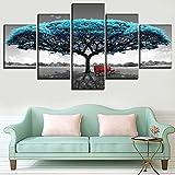 Quadri moderni su tela da soggiorno 5 murales con modulo di stampa su tela panchina albero blu adatti per la decorazione dell'autoadesivo della parete di casa 1 colore 4 dimensioni size3 Incorniciato