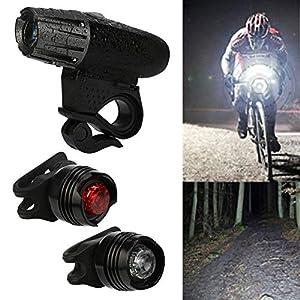 1 PC Scheinwerfer + 2PC Rücklicht, Nourich StVZO Zugelassen LED Fahrradbeleuchtung Fahrradlicht, Wasserdicht Fahrradleuchte, Fahrradlampe, Rücklicht, USB Aufladbare Camping Angeln