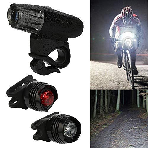 IP65 Wiederaufladbarer USB-Scheinwerfer+2 x Rücklicht, StVZO Zugelassen LED Fahrradbeleuchtung Fahrradlicht, Wasserdicht Fahrradleuchte, Fahrradlampe,USB Aufladbare Camping Angeln (Schwarz)