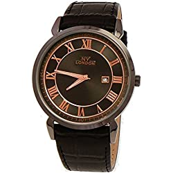 NY London designer Slim Herren Leder Armband Uhr Schwarz Rose Gold mit Datum super flach inkl.Uhrenbox