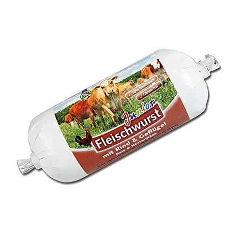 DOGREFORM Junior Fleischwurst mit Rind und Geflügel, Reis und Hüttenkäse, Hundewurst