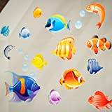 Stickers4 bathroom tile - window - shower screen decorative tropical fish stickers | Double sided static cling removable and reusable colorful under the sea collection - size small
