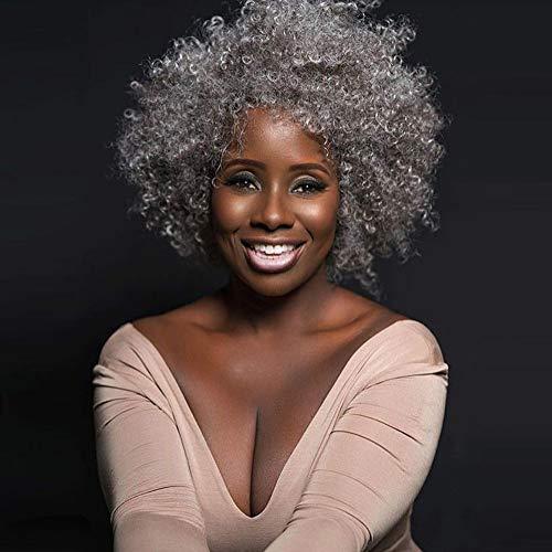 Sgsg Femme noire africaine perruque Argent blanc bouclé Afro-américain 100% Perruques complètes de cheveux humains brésiliens avec des cheveux de bébé pour les femmes noires,Petit volume