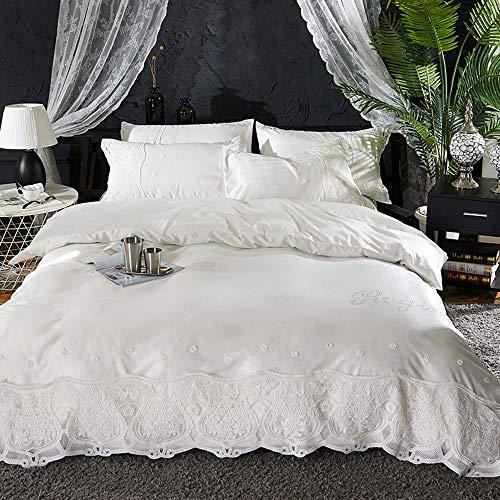 CPDZ 4 stücke Blatt Set 100% Baumwolle Blatt Quilt Abdeckung, Luxus bettwäsche bettbezug königin seidenbettbezug & kissenbezüge Set,White,XL