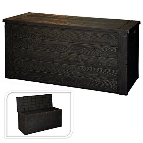 Multistore 2002 Kunststoff Auflagenbox Holzoptik 300L / 120x46xH58cm Gartenbox Gartentruhe Kissenbox...