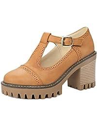 COOLCEPT Mujer Moda Chunky Heel Correa En T Al Tobillo Bombas Zapatos Plataforma