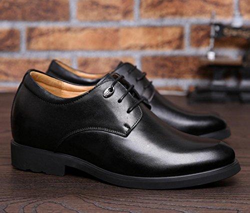WZG Augmentation dans les chaussures en cuir des nouveaux hommes d'hiver dentelle travail chaussures chaussures habillées d'affaires Black