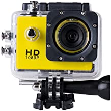 BriskyM SJ4000 Cámara Full HD 1080P 12MP 30M Impermeable Deportes Cámara de Acción DVCARDVR Soporte SD a 32GB, color amarillo