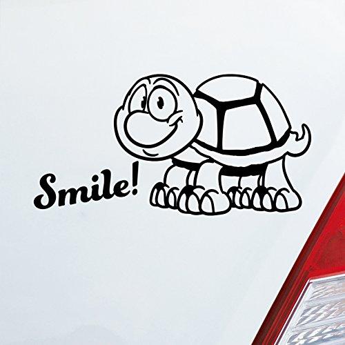Auto Aufkleber in deiner Wunschfarbe Smiley! mit süsser Schildkröte Turtle Größe 19x10 cm Autoaufkleber Sticker (Aufkleber Schildkröte Auto)