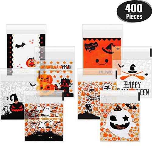 Gejoy 400 Stücke Selbstklebende Süßigkeiten Tasche Halloween Klar Cookie Taschen Zellophan Treat Taschen für Hausgemachte Handwerk, Halloween Party Gefälligkeiten