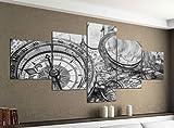 Leinwandbild 5 tlg. 200cmx100cm Karte Welt alte Navigation Kompass schwarz weiß Bilder Druck auf Leinwand Bild Kunstdruck mehrteilig Holz 9YA1315, 5Tlg 200x100cm:5Tlg 200x100cm