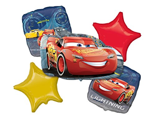 Party Silvester Themes Für Kostüm - amscan 3536701 Cars Folienballon Set Lightning McQueen, Mehrfarbig, 0-0 Years