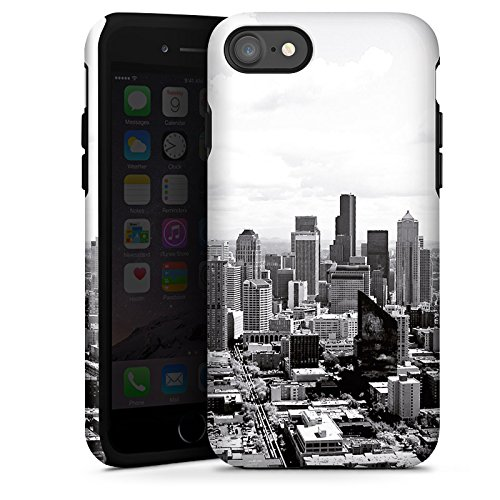 Apple iPhone 7 Silikon Hülle Case Schutzhülle City Stadt Skyline Tough Case glänzend
