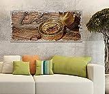 Holzbild 100x40cm Vintage antike Karte gold Kompass Retro Druck auf Holz Holzbilder Vintage Bild UV Foto Wandbild Wandbilder W0804, Holz Gr 1:100x40 cm