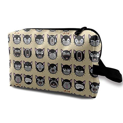 Reise-hängende Kosmetiktaschen Cute Emoji Cats Multi-Functional Toiletry Makeup Organizer Mini Makeup Bag