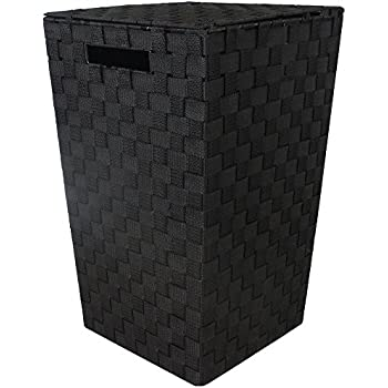 jvl modern tapered laundry basket with inset handles black