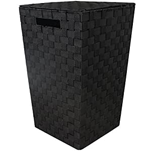 JVL Modern Tapered Laundry Basket with Inset Handles - Black